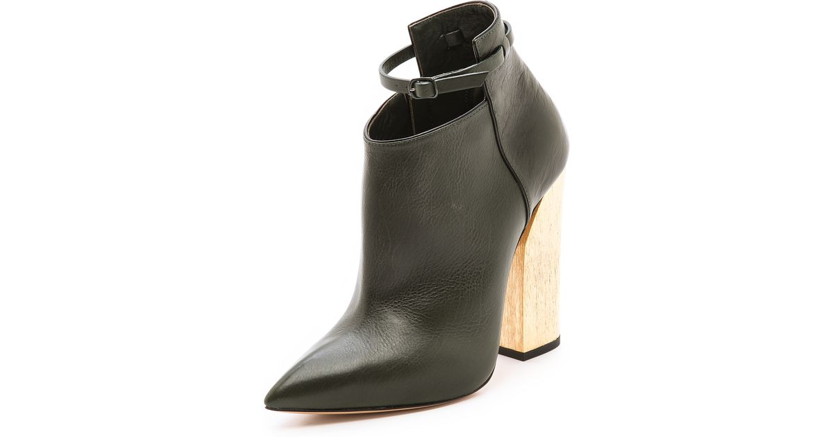 Casadei Green Leather Booties With Wooden Heel Lyst