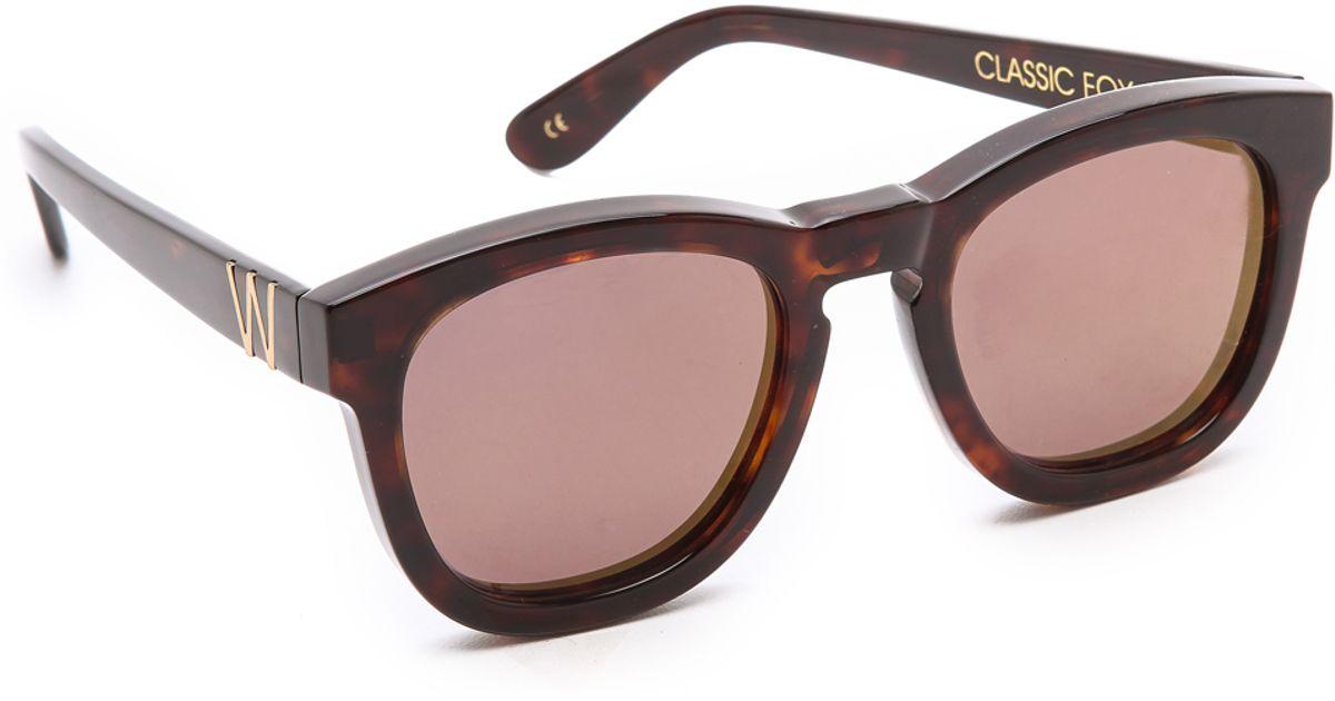 bf4e9472bcb Lyst - Wildfox Classic Fox Deluxe Sunglasses Crystalsilver Mirror in Brown