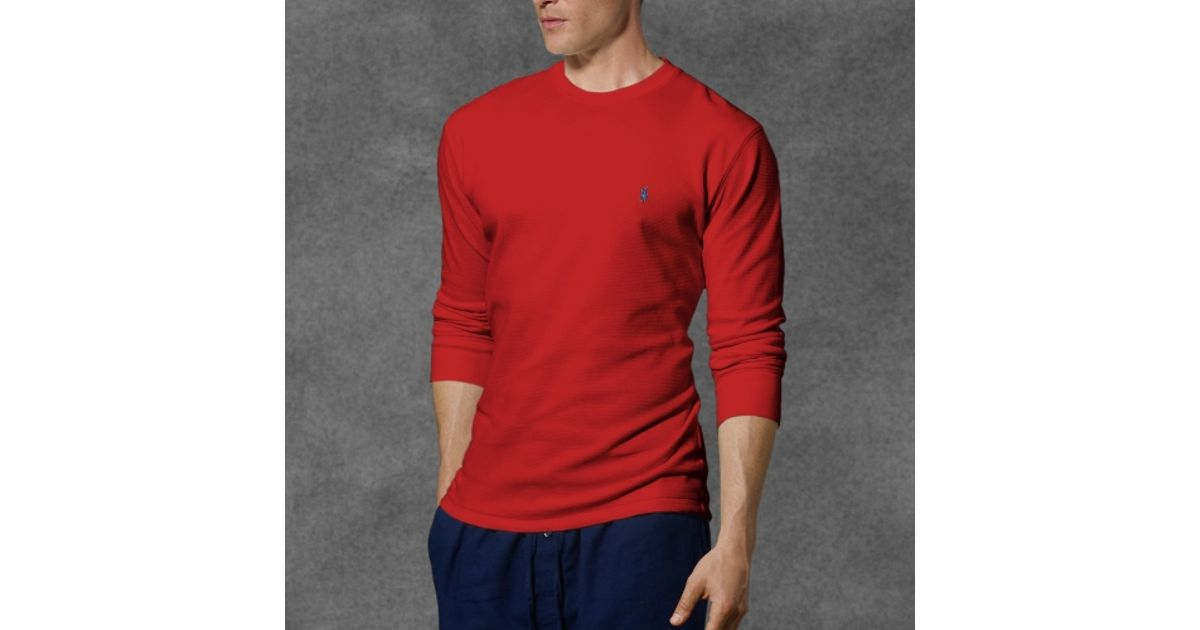 274fccc89 Polo Ralph Lauren Waffle-knit Crewneck Thermal in Red for Men - Lyst
