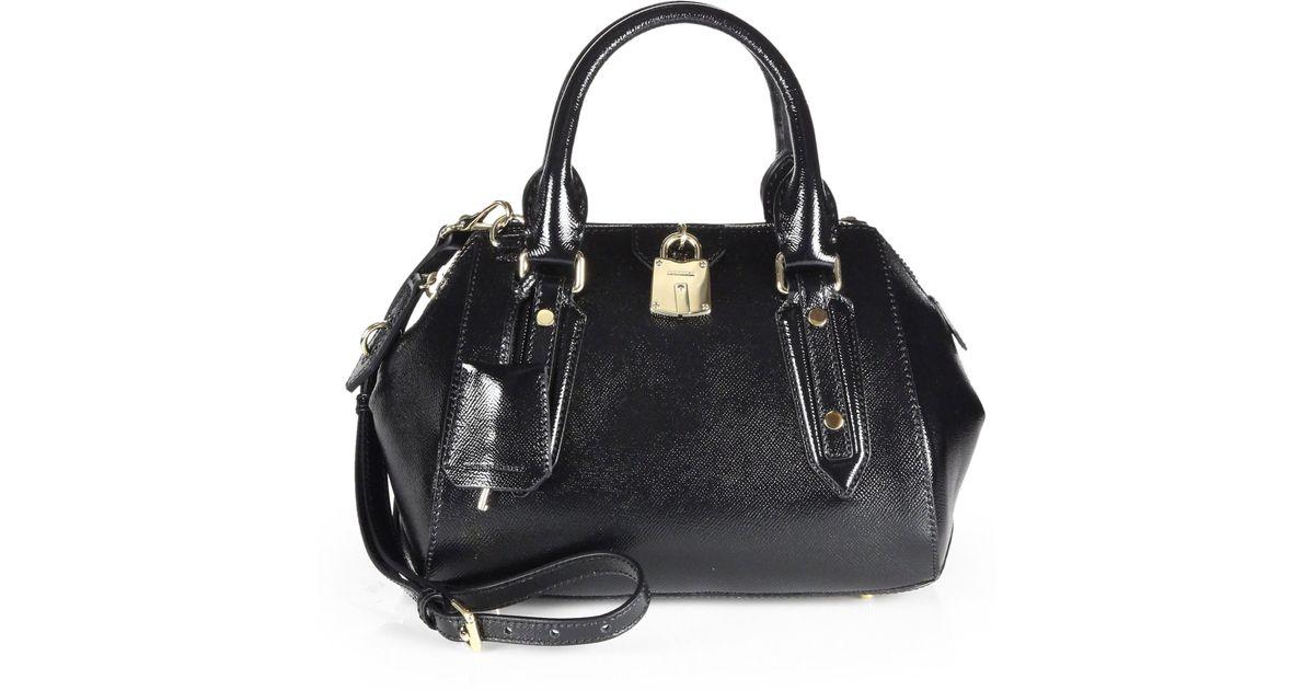 e23a054a01c7 Lyst - Burberry Blaze Patent Satchel Handbag in Black