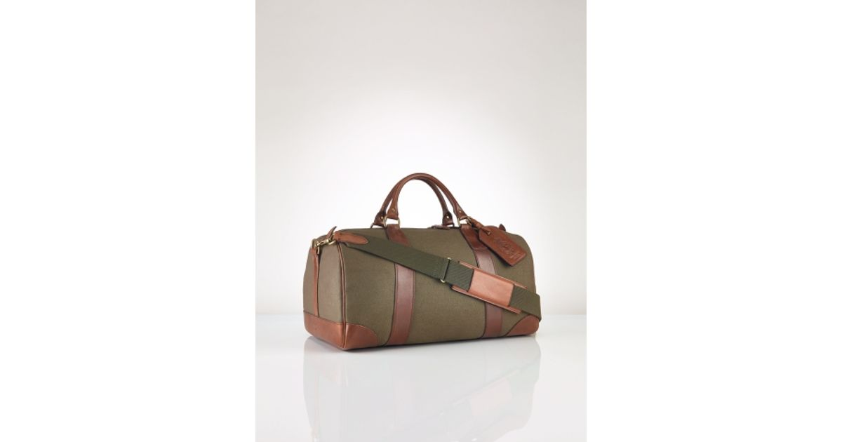 12e399a1609 Polo Ralph Lauren Canvas   Leather Gym Bag in Green for Men - Lyst