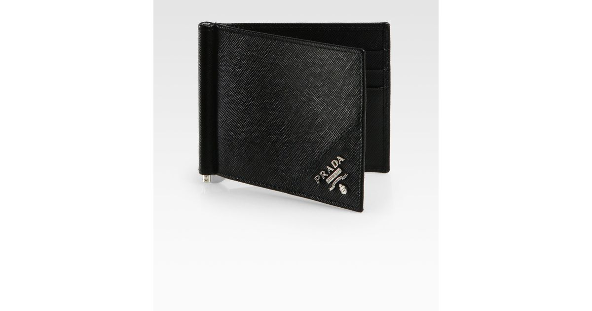 1f7d7b5e313a Prada Leather Money Clip Wallet in Black for Men - Lyst