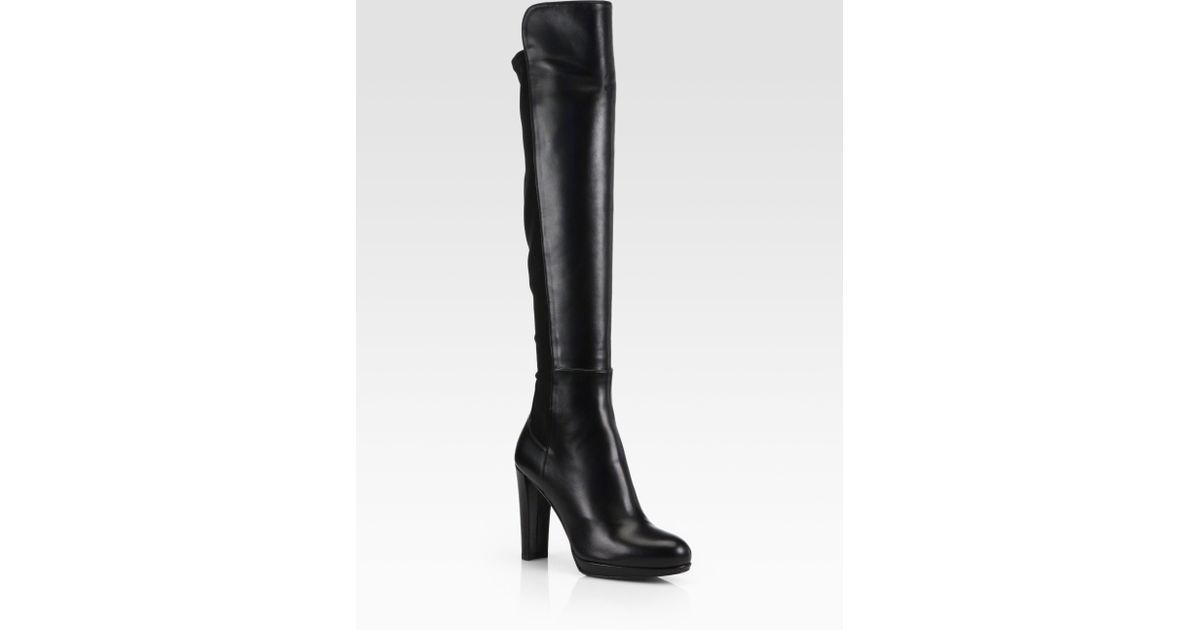 5d7f257a7143 Lyst - Stuart Weitzman Highline Stretch Leather Overtheknee Boots in Black