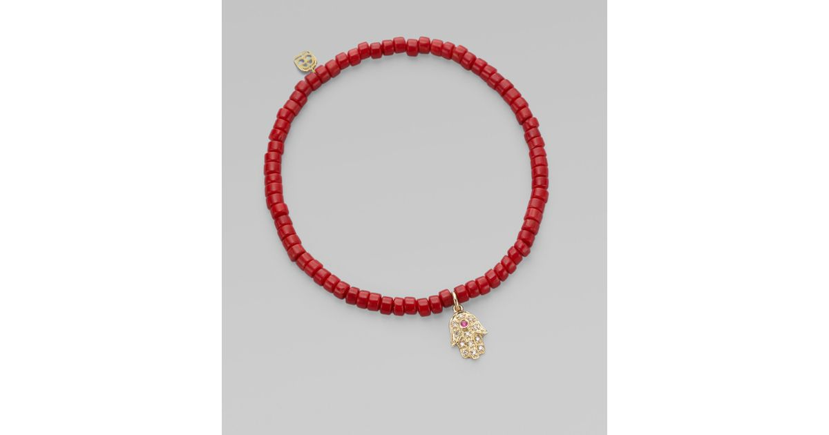 Sydney Evan 3mm Beaded Coral Bracelet with Diamond Hamsa Pendant R1Krb8gyrj