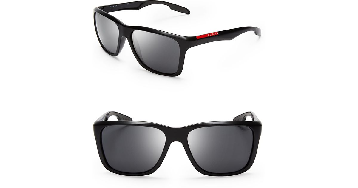 dec10ddd1 Prada Lifestyle Sport Wayfarer Sunglasses in Black for Men - Lyst
