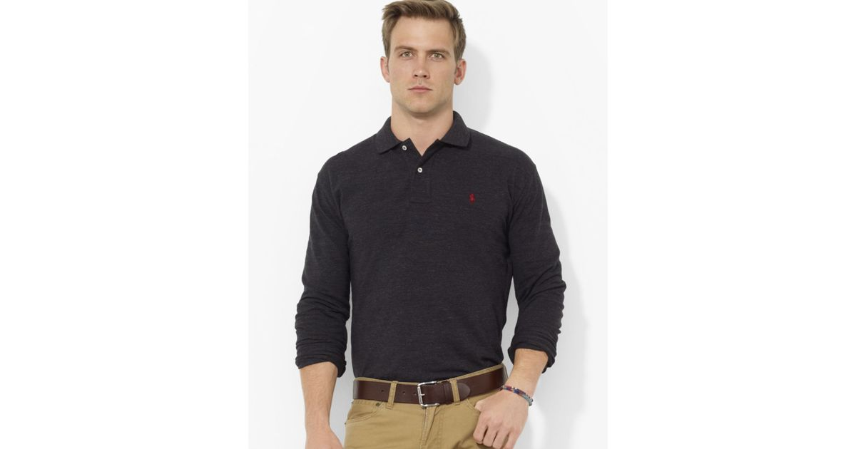 Ralph lauren Polo Classicfit Longsleeved Cotton Mesh Polo in Black for Men | Lyst