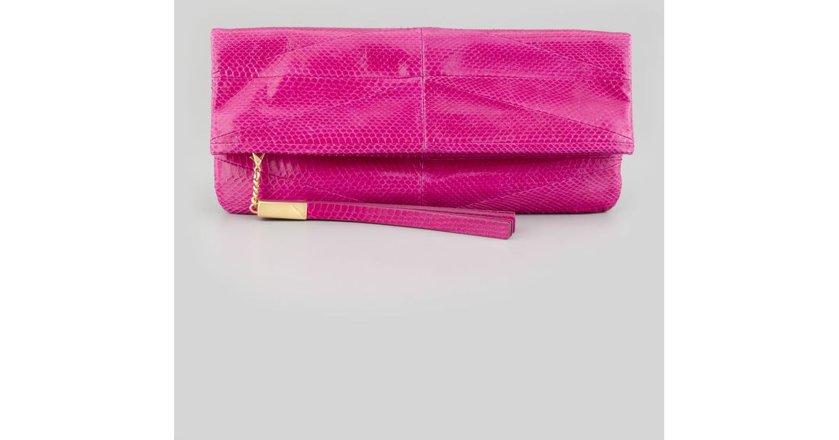 Lyst B Brian Atwood Robin Soft Snake Foldover Clutch Bag Magenta In Pink