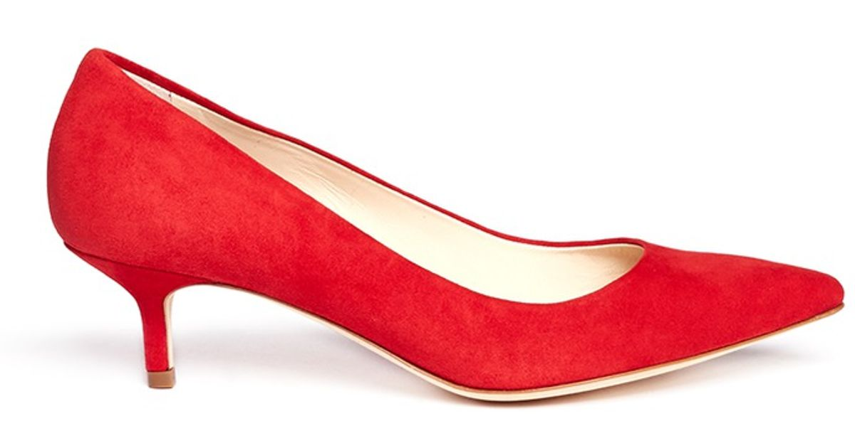 957806f2217c Lyst - Brian Atwood Suede Kitten Heel Pumps in Red