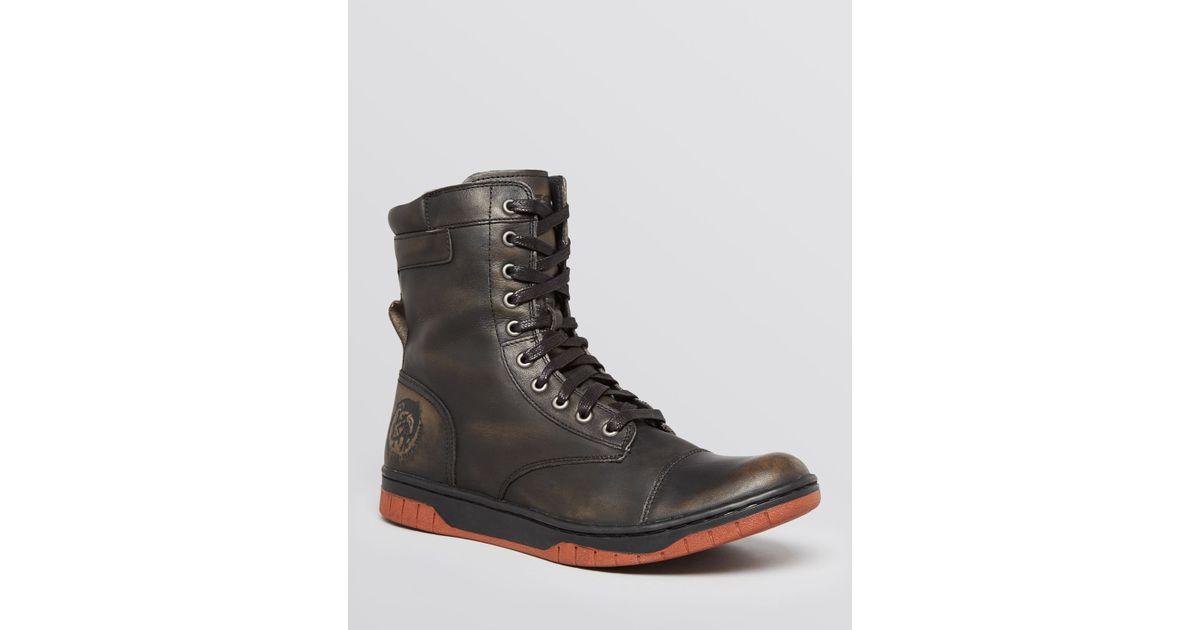 88fc680510dd Lyst - DIESEL Tatradium Basket Butch Zip Leather Boots in Black for Men