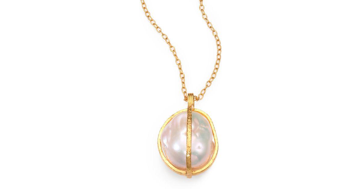 Gurhan 18mm 24mm freshwater white baroque pearl 24k yellow gold gurhan 18mm 24mm freshwater white baroque pearl 24k yellow gold pendant necklace in blue lyst aloadofball Choice Image
