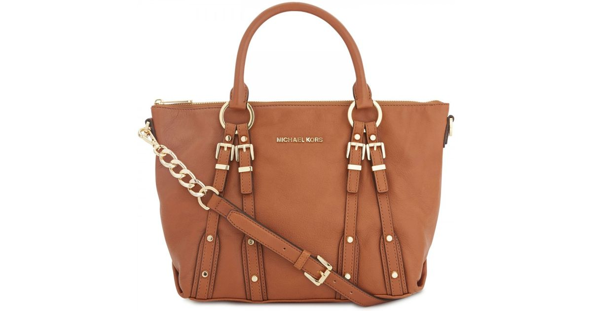 a8d643f32 ... closeout michael kors leigh buckle embellished leather shoulder bag in  brown lyst b091d 0fb51