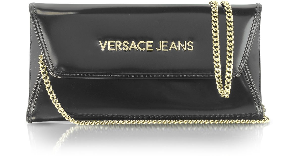 Lyst Versace Jeans Black Wallet Clutch W Chain In 14d071536b