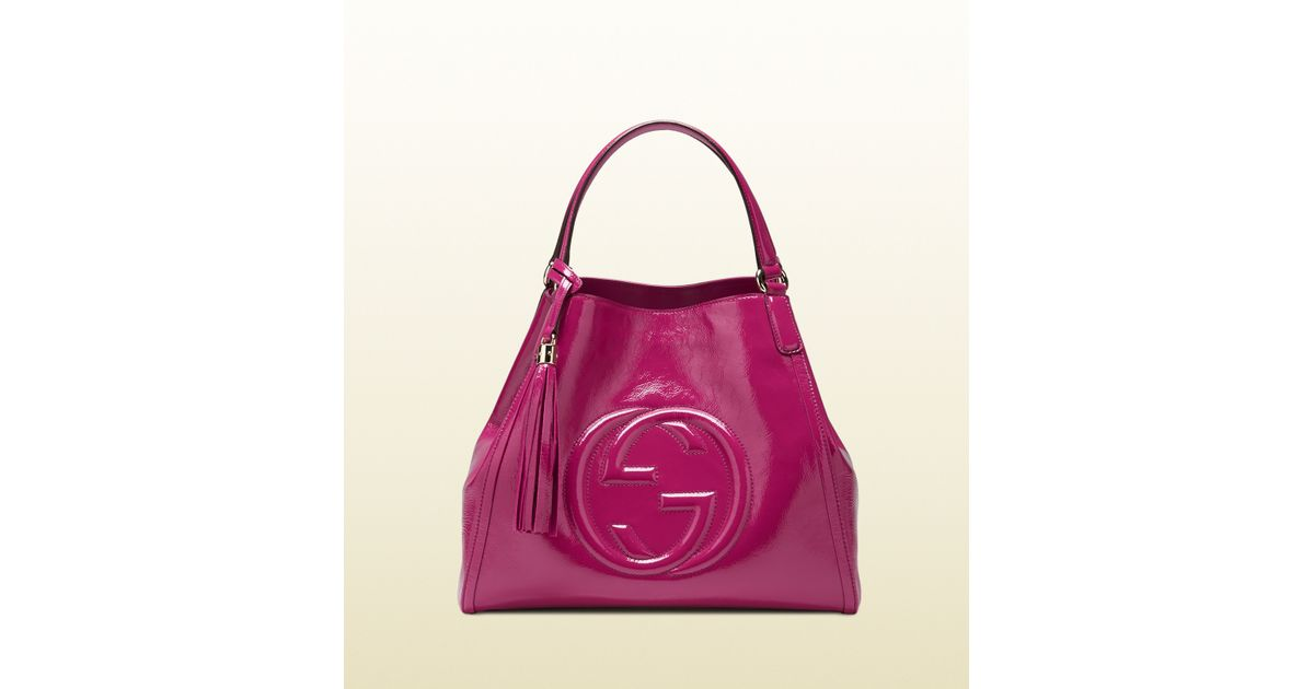 97619b0e4d53 Lyst - Gucci Soho Soft Patent Leather Shoulder Bag in Purple