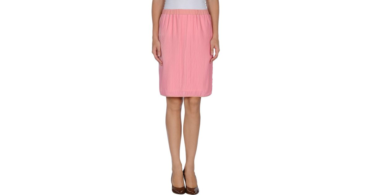 pianurastudio knee length skirt in pink lyst
