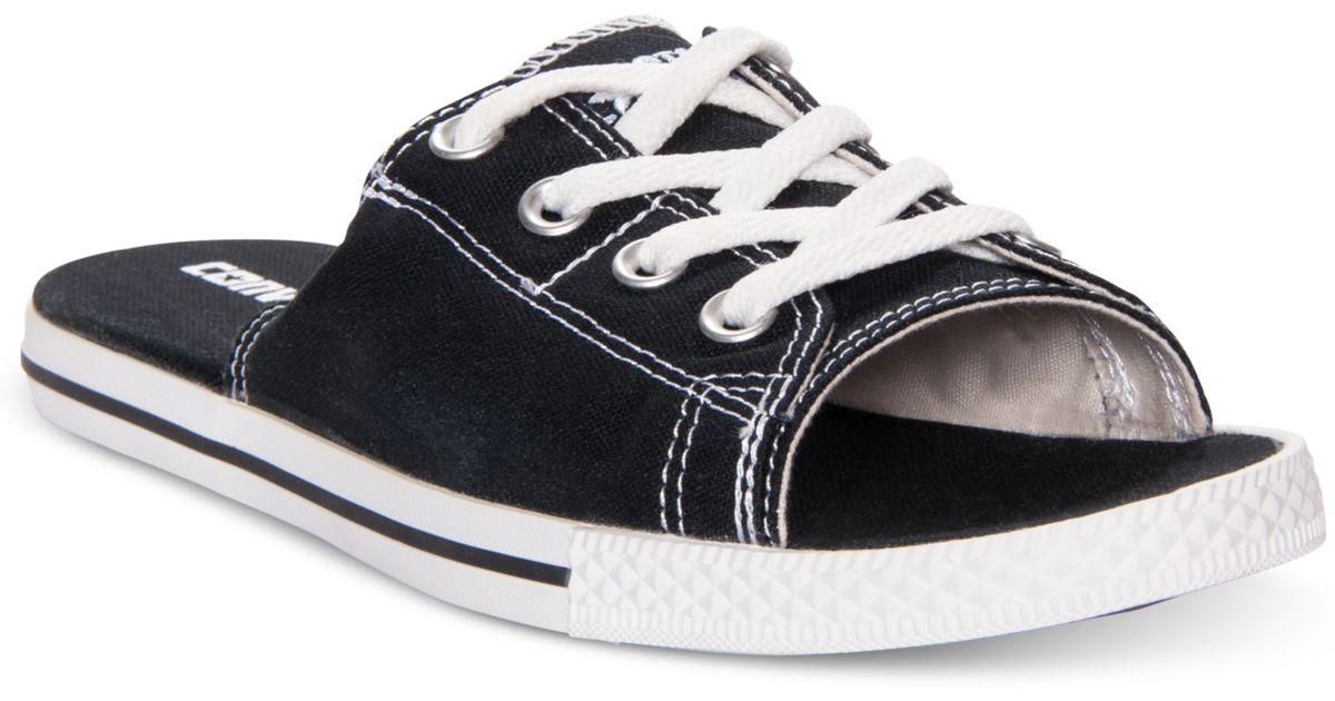 ... cheap lyst converse all star cutaway evo slide sandals in black 7b96e  1e19b a2eee8792