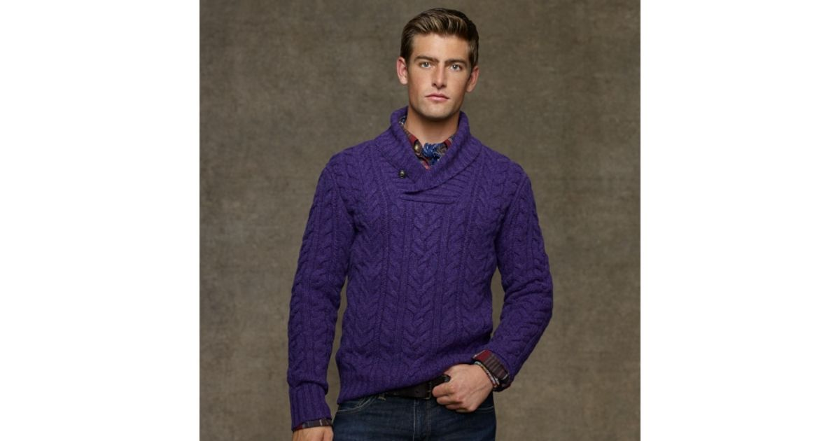 Polo ralph lauren Shetland Shawl Collar Sweater in Purple for Men ...