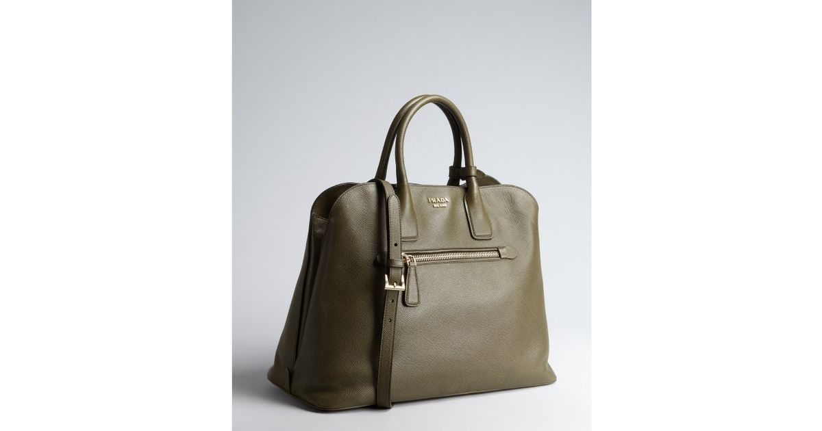 ce8ac4f1f208 ... coupon code for lyst prada grey saffiano leather zip top handle bag in  brown 30420 7ca48