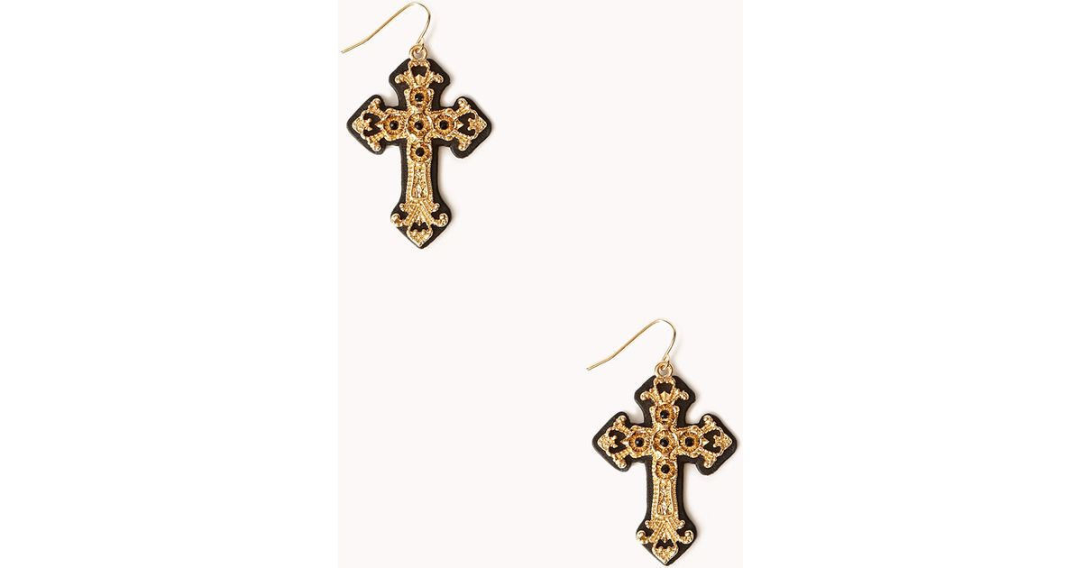 Lyst Forever 21 Ornate Cross Drop Earrings in Metallic