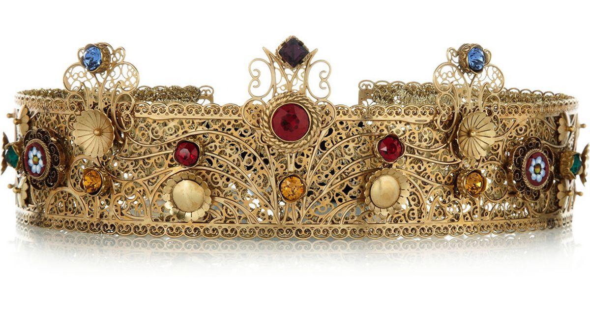 36b8306f4b8d Lyst - Dolce   Gabbana Goldplated Swarovski Crystal Crown in Metallic
