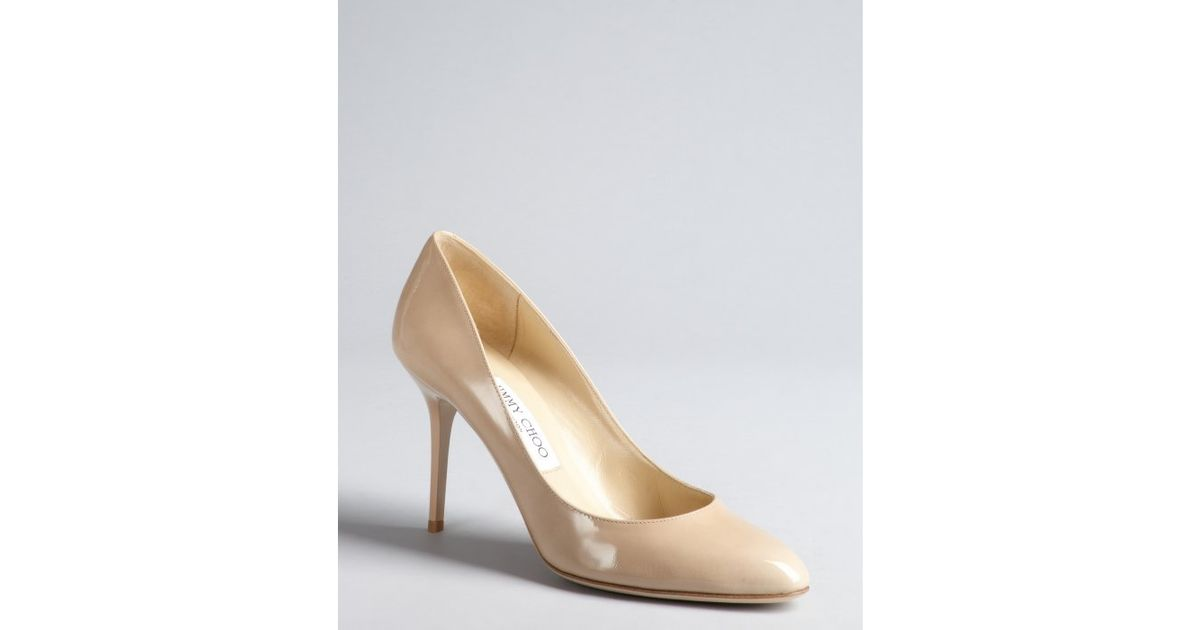 jimmy choo natural nude patent leather gilbert pumps lyst rh lyst ca