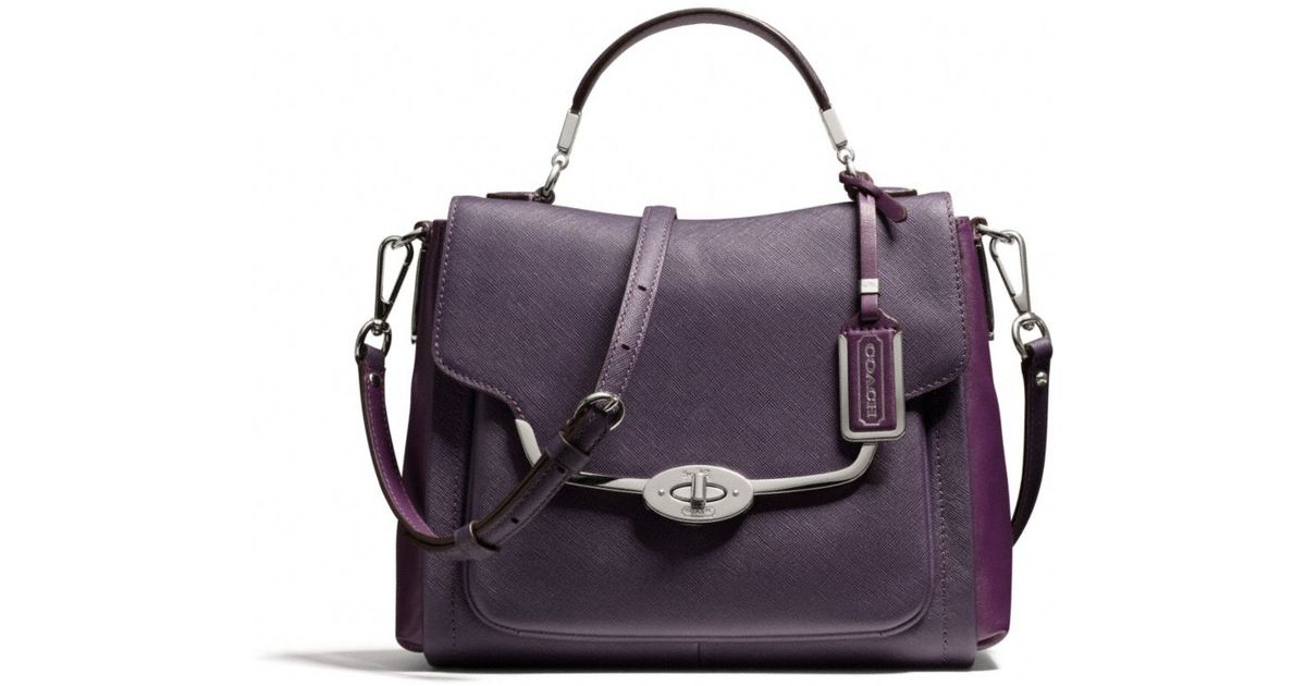 Lyst - COACH Madison Spectator Small Sadie Flap Satchel in Saffiano Leather  in Purple bf9c5a071f811