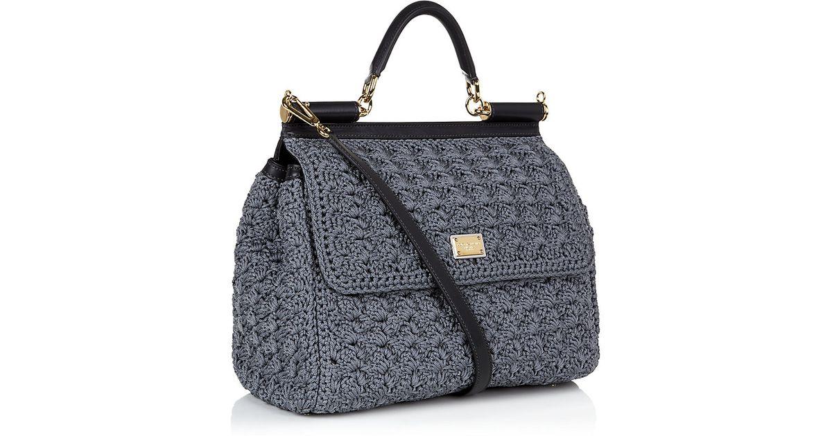 Dolce   Gabbana Miss Sicily Classic Crochet Bag in Gray - Lyst 79e2668bf7