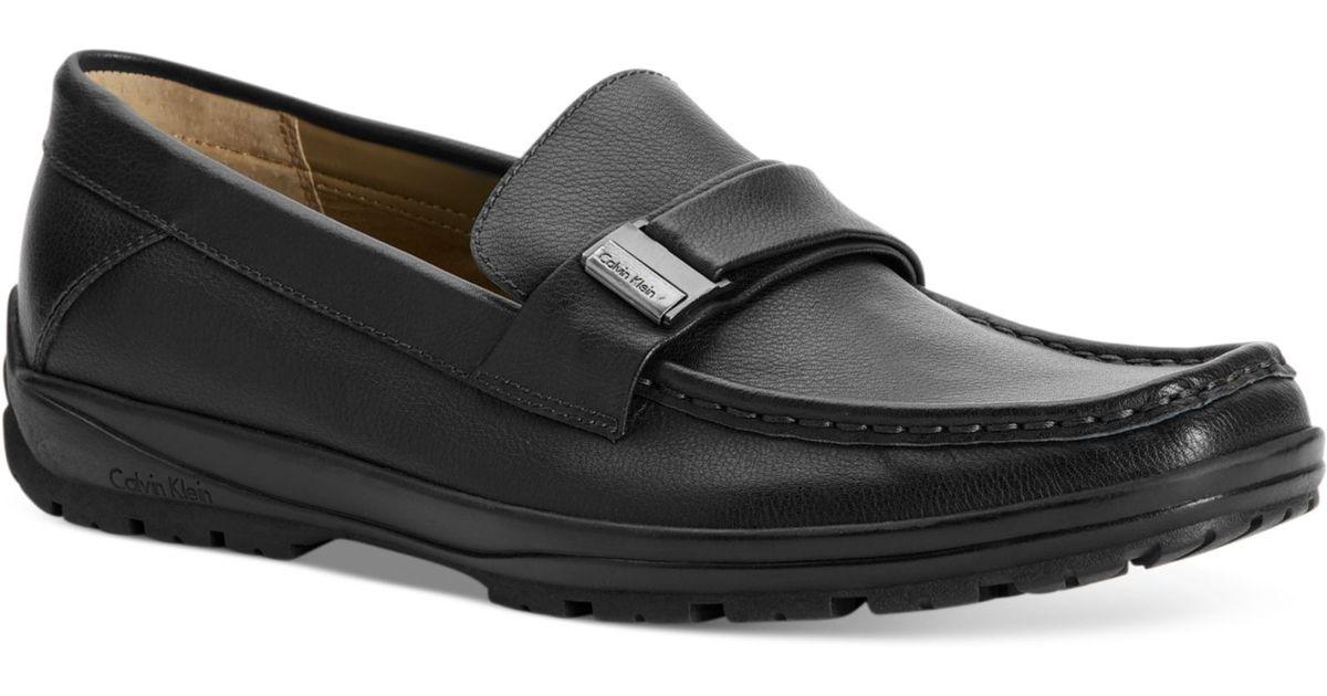 calvin klein quinlan bit slip on shoes in black for lyst
