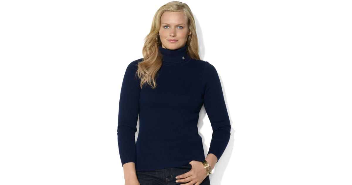 554933b5f3129 Lyst - Lauren by Ralph Lauren Lauren Ralph Lauren Plus Size Sweater  Longsleeve Ribbed Turtleneck in Blue