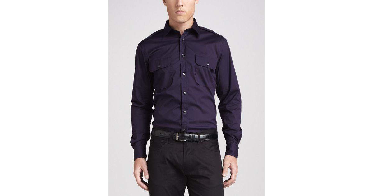 937e33b8 Ralph Lauren Black Label Twopocket Military Shirt Eggplant in Purple for  Men - Lyst