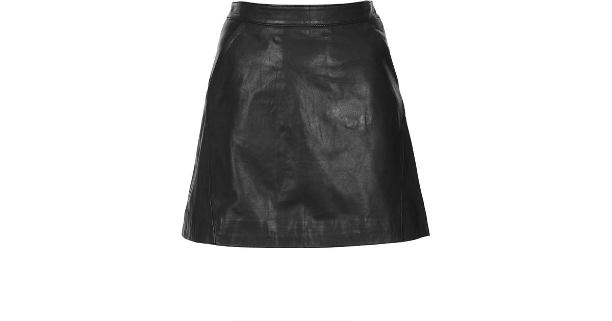 Topshop Black Leather A Line Skirt in Black | Lyst