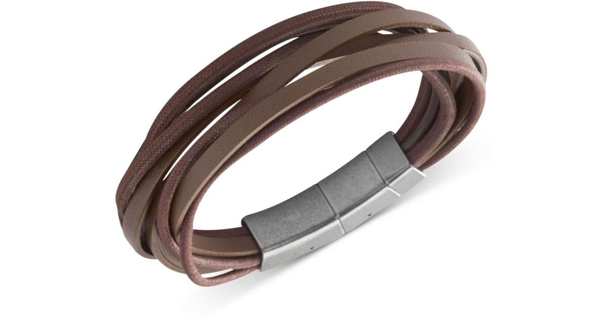 Lyst Fossil Stainless Steel Brown Leather Multistrand Wrap Bracelet In For Men
