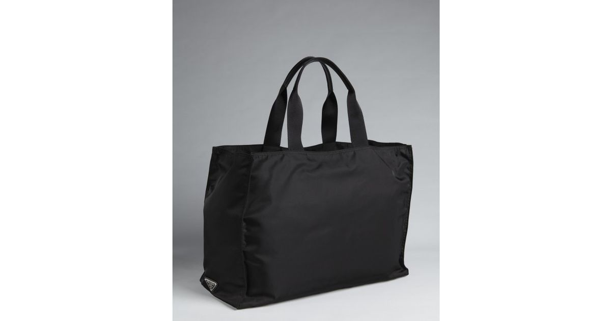 Prada Black Nylon Oversized Top Handle Tote in Black for Men | Lyst
