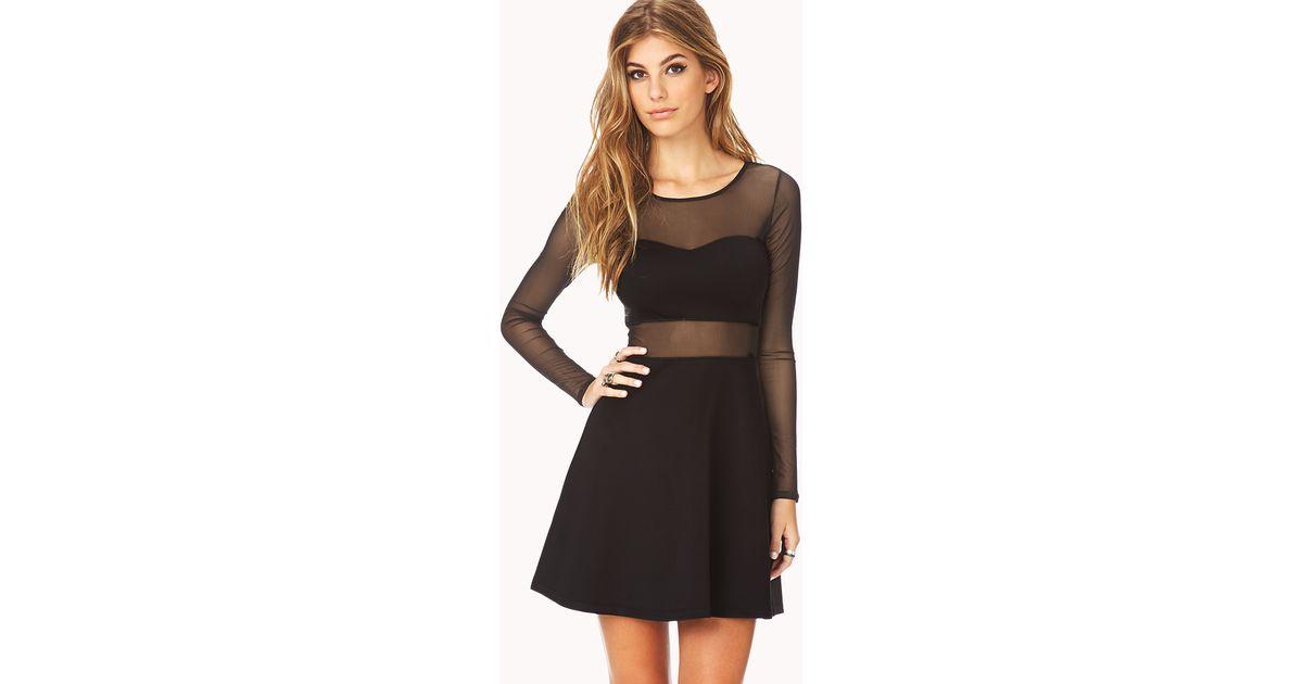 Lyst - Forever 21 Bold Mesh Skater Dress in Black 4f14376ab