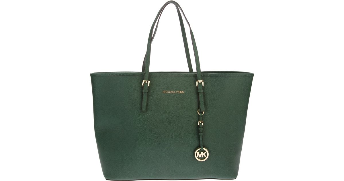 lyst michael kors tote bag in green