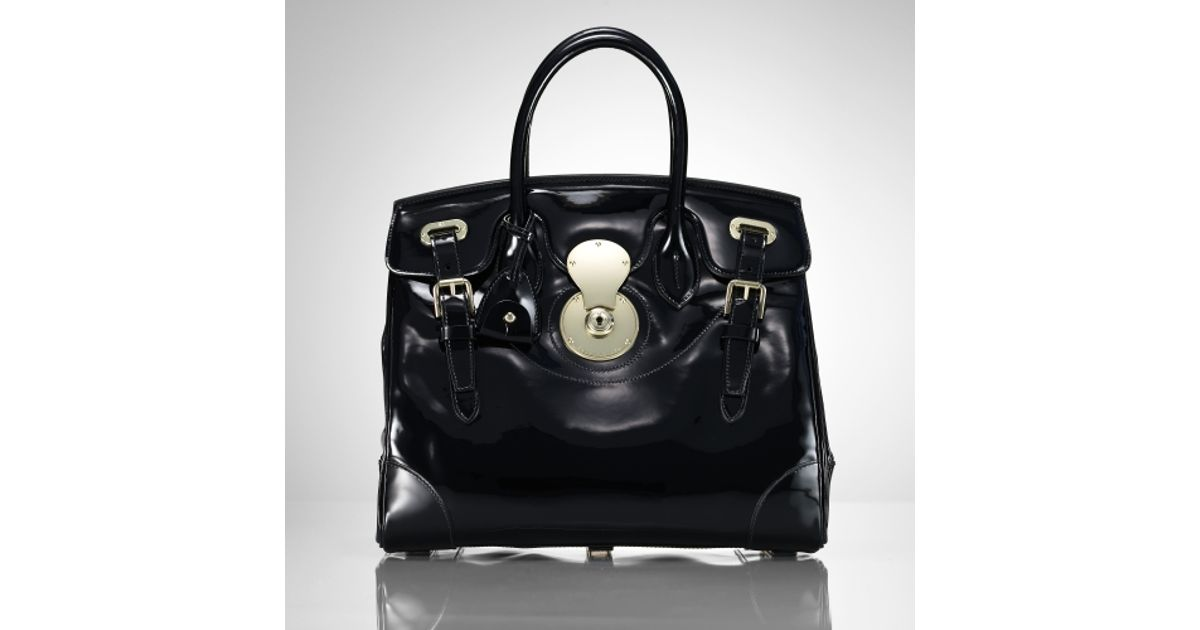 9869a94d8f Lyst - Ralph Lauren Collection The Patent Ricky Bag in Black