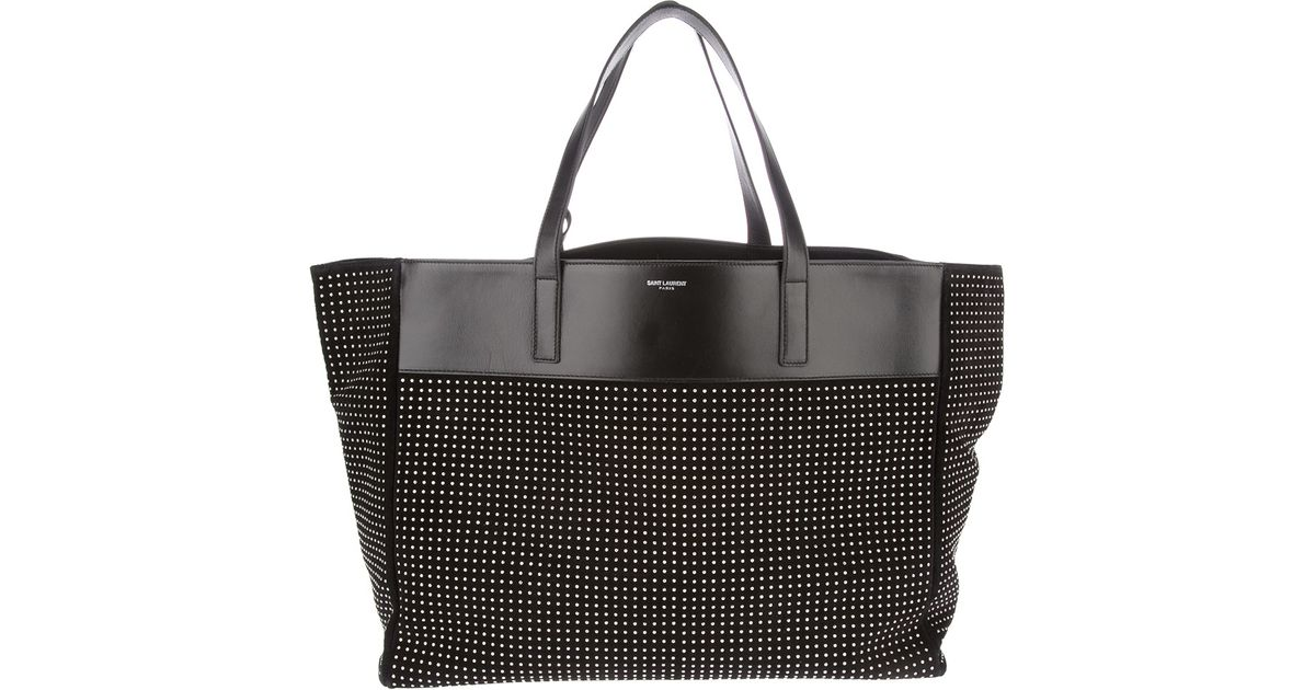 e6d1d0a3e55c Lyst - Saint Laurent Large Studded Tote Bag in Black