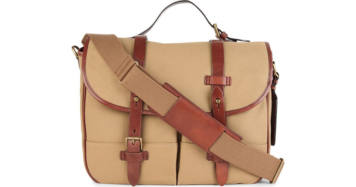 ... sale ralph lauren canvas and leather messenger bag in brown for men lyst  aea20 02f21 fbeac4e8cf
