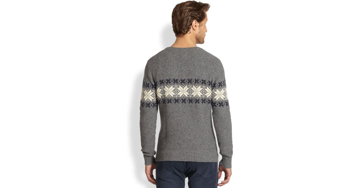 Gant rugger Fairisle Nordic Snowflake Sweater in Gray for Men | Lyst