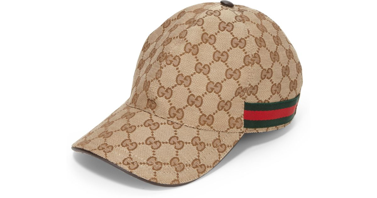 a8cbbc3088d Lyst - Gucci Canvas Baseball Hat in Natural for Men