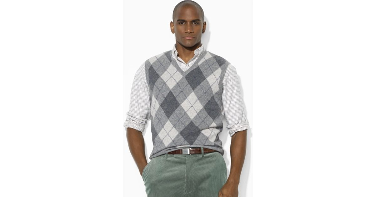 8568f982ce38f Polo Ralph Lauren Argyle Vneck Sweater Vest In Gray For