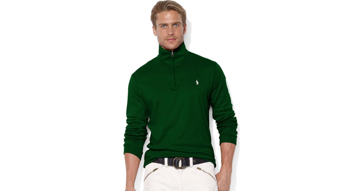 Ralph lauren Half Zip Mock Neck Pima Cotton Pullover in Green for Men (New Forest Green) | Lyst