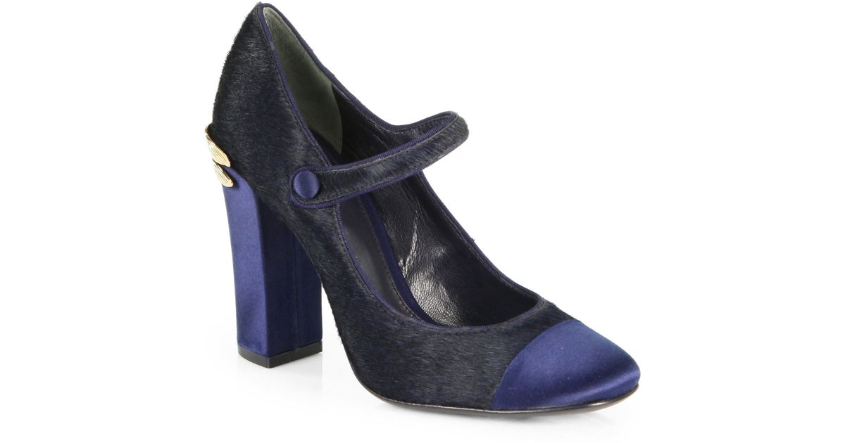 58f3aec34e7 Lyst - Tory Burch Imogene Calf Hair Satin Mary Jane Pumps in Blue
