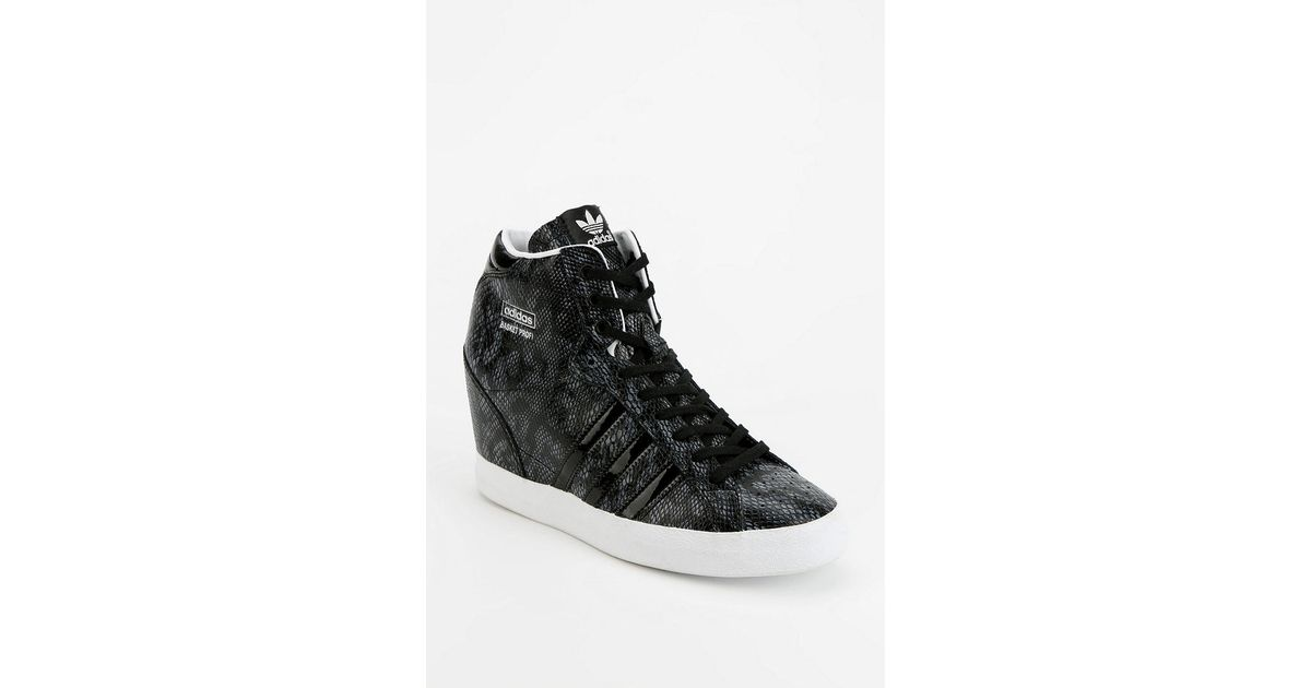 low priced 38769 56999 Lyst - Urban Outfitters Adidas Basket Snakeskin Hidden Wedge Hightop  Sneaker in Black