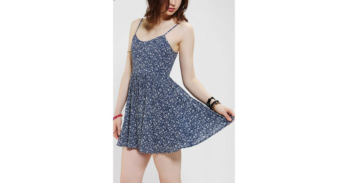 Lyst Urban Outfitters Lucca Couture Floral Babydoll Dress In Blue