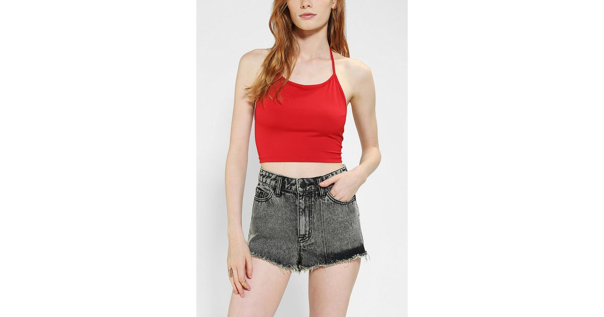 255e41c28b1 Lyst - Urban Outfitters Motel Fonda Halter Cropped Top in Red