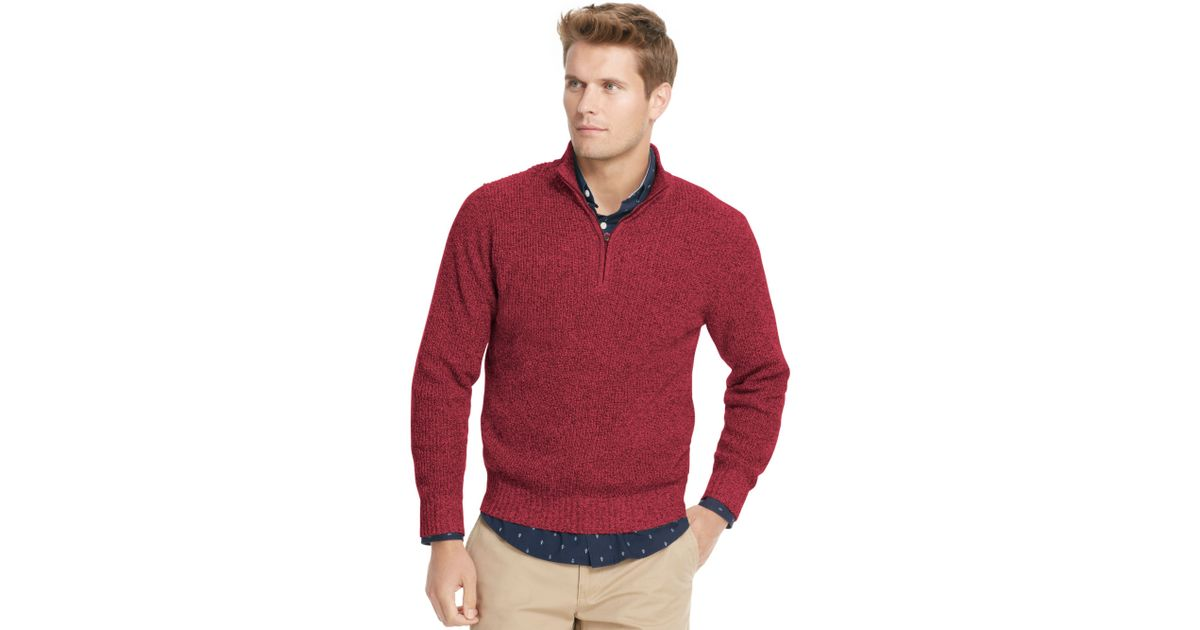 Izod Sweater Quarter Zip Mock Neck Shaker Pullover in Red for Men ...
