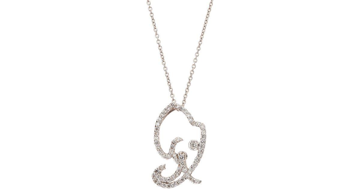 Roberto coin diamond elephant head pendant necklace in metallic lyst aloadofball Images