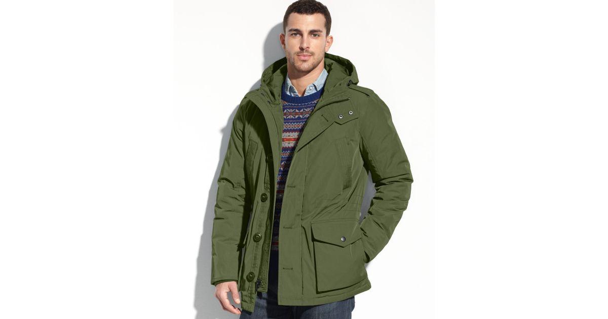 tommy hilfiger hooded parka coat in green for men lyst. Black Bedroom Furniture Sets. Home Design Ideas