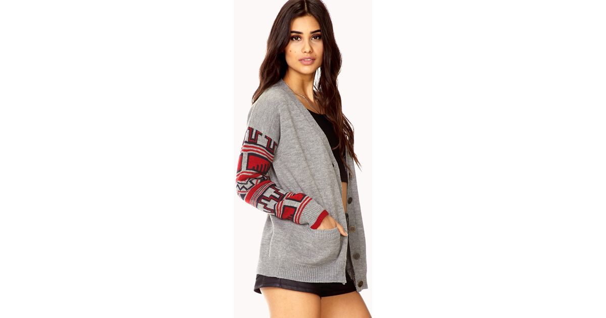 Forever 21 Warm Fair Isle Cardigan in Red | Lyst