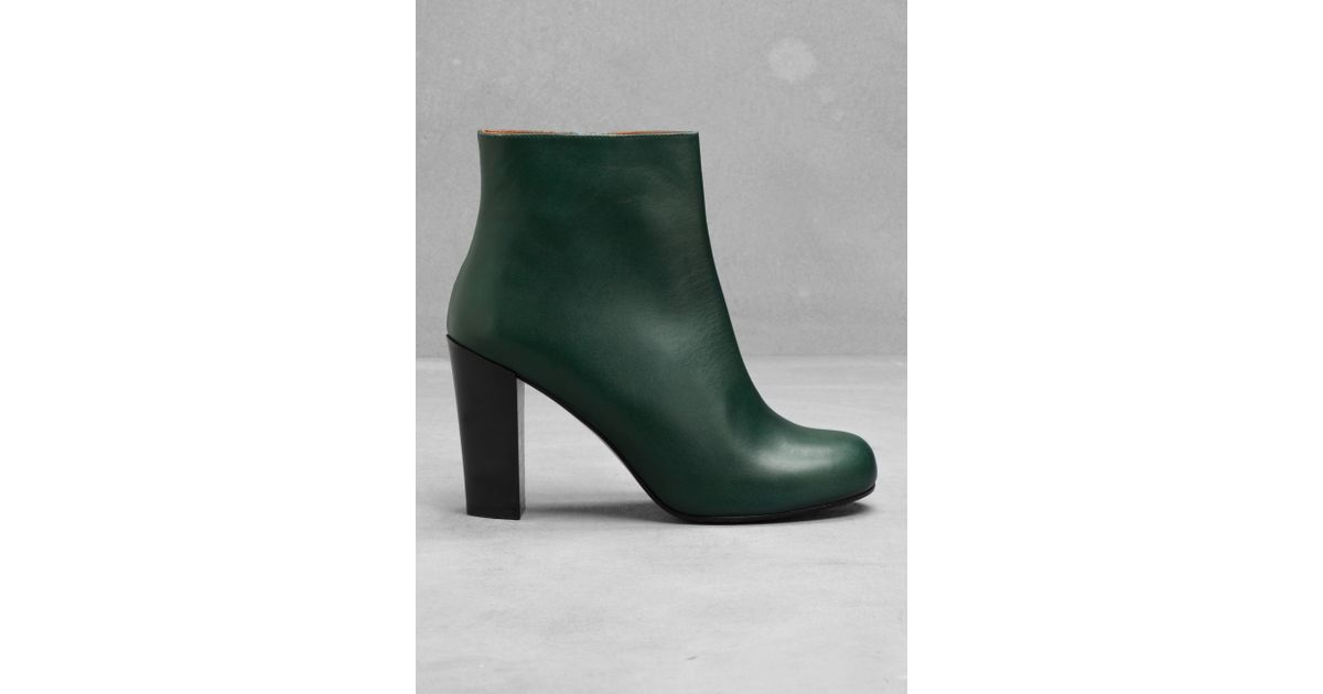 b67cd6274d86   Other Stories Leather Ankle Boots in Green - Lyst